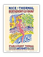 ニース、フランス - スパ - Berthemont-les-Bainsの、フランス - 健康 美しさ - ビンテージな世界旅行のポスター によって作成された アンリ・ル・モニエ c.1950 - アートポスター - 23cm x 31cm