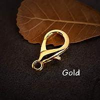 卸売の100pcsネックレスブレスレットバックルDIYアクセサリーZK2316のために 多色MEETEE合金ロブスタークラスプフック:ゴールド、12ミリメートル