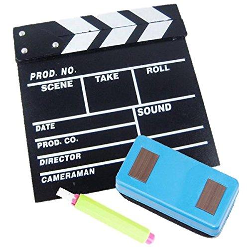 撮影 スターターキット カチンコ チョーク 黒板消し 3点 セット 映画 YouTube 動画 結婚式 インテリア に (小 20?×20?)