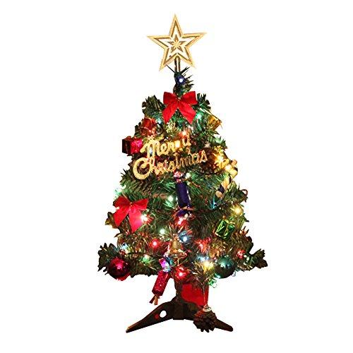 Time4Dealsクリスマスツリー 50cm ミニ ツリー 卓上 オーナメント セット 電球 飾り付き プレゼント クリスマスグッズ イルミネーション ギフト 変換プラグ付き