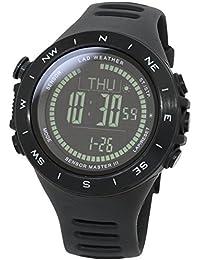 [LAD WEATHER]腕時計 100m防水 ストームアラーム 高度/気圧/温度/天気/方位 消費カロリー計算 歩数計測 デジタルコンパス 山頂データ保存 スポーツ時計