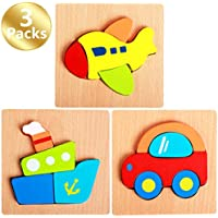 3 - Pack Cartoon Vehicleシリーズ木製ジグソーパズルセット、5.9 X 5.9in wj-00045-01