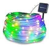 LETOUR ソーラー イルミネーションライト、屋外ソーラーストリングライト、装飾ライト、RGB 調光センサーライト、ガーデンライト、100球 10M 防水IPX7、住宅の屋外照明 (RGB、10M)