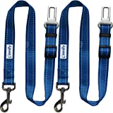 Zenify Heavy Duty Dog Seat Belt (2 Pack) - Durable Car Seat Leash for Dogs Puppies - Pet Harness Vehicle Safety (Blue)