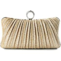 iwish Womens Golden Glitter Clutch Purse Pleated Evening Bag for Bridal Wedding Party with Rhinestone Ring