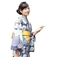 浴衣 レディース セット 「紺系菊尽くし」 高級変わり織り綿浴衣3点セット