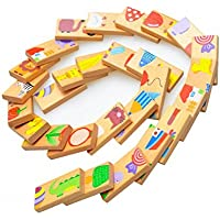 PerPure ドミノ木製玩具 28個 動物ソリティアパズル