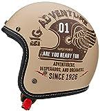 マルシン(MARUSHIN) バイクヘルメット ジェット MCJ4 フェザー オープンジェット ナチュラル モカブラウン Lサイズ (59-60cm) 3006345