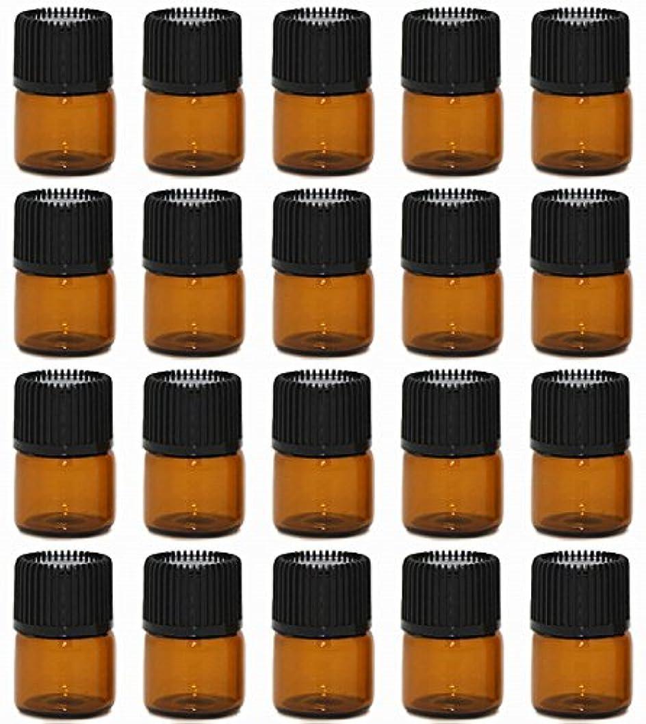 保険をかける症候群反映する【Rurumi】アロマオイル 精油 小分け用 遮光瓶 セット 茶 ガラス アロマ ボトル オイル 用 茶色 瓶 ビン エッセンシャルオイル 保存 詰替え (1ml 20本 セット)