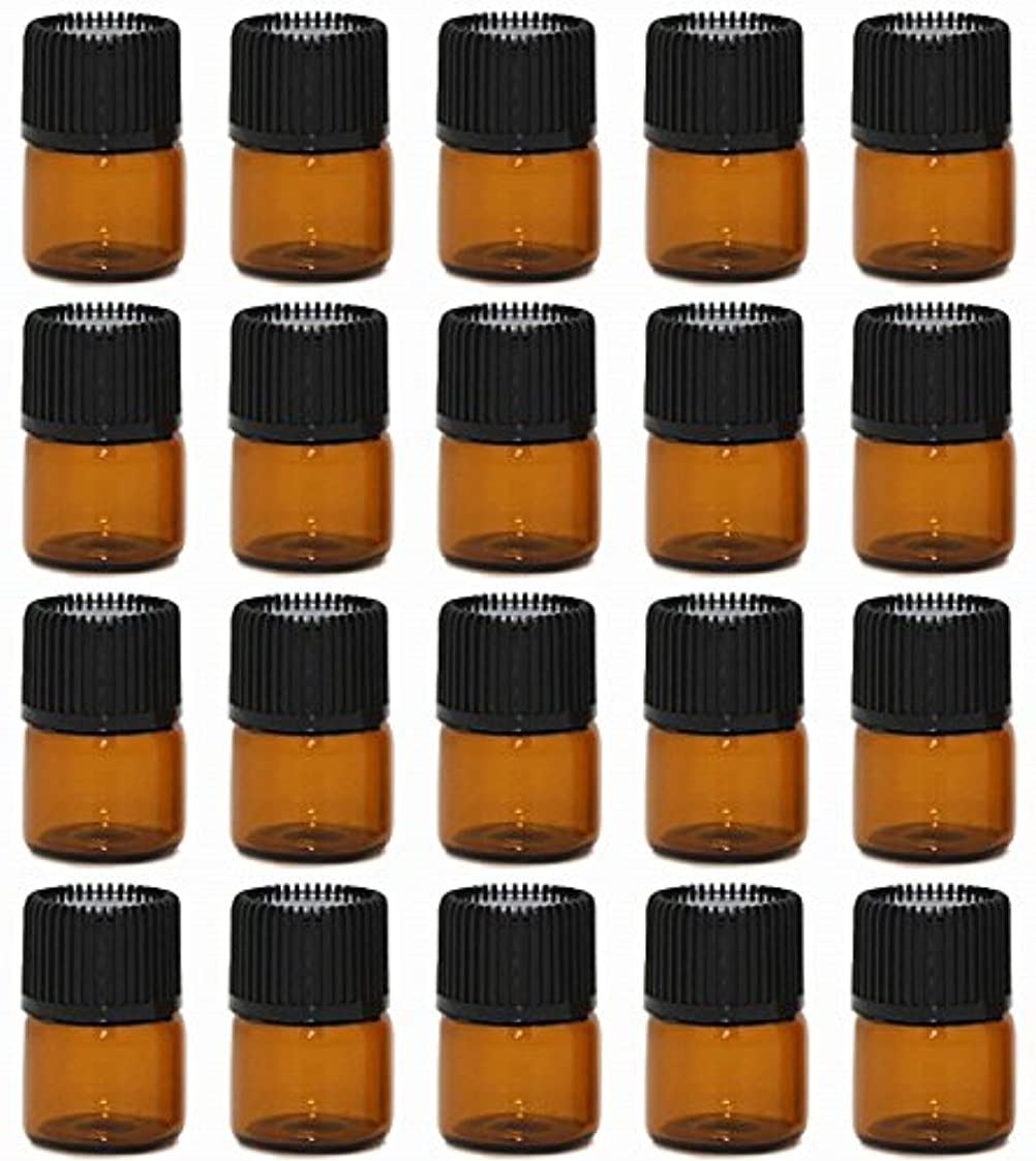 【Rurumi】アロマオイル 精油 小分け用 遮光瓶 セット 茶 ガラス アロマ ボトル オイル 用 茶色 瓶 ビン エッセンシャルオイル 保存 詰替え (1ml 20本 セット)