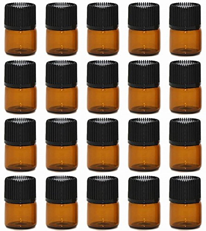 汚染された推定するバックアップ【Rurumi】アロマオイル 精油 小分け用 遮光瓶 セット 茶 ガラス アロマ ボトル オイル 用 茶色 瓶 ビン エッセンシャルオイル 保存 詰替え (1ml 20本 セット)