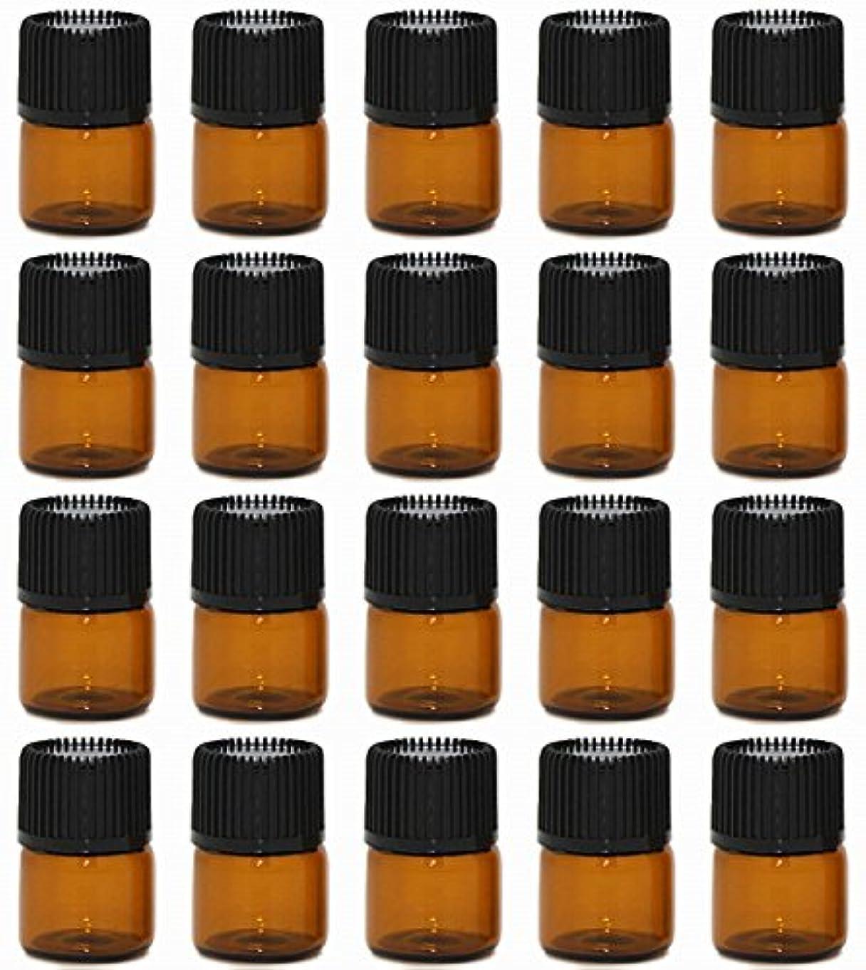事実玉顕著【Rurumi】アロマオイル 精油 小分け用 遮光瓶 セット 茶 ガラス アロマ ボトル オイル 用 茶色 瓶 ビン エッセンシャルオイル 保存 詰替え (1ml 20本 セット)