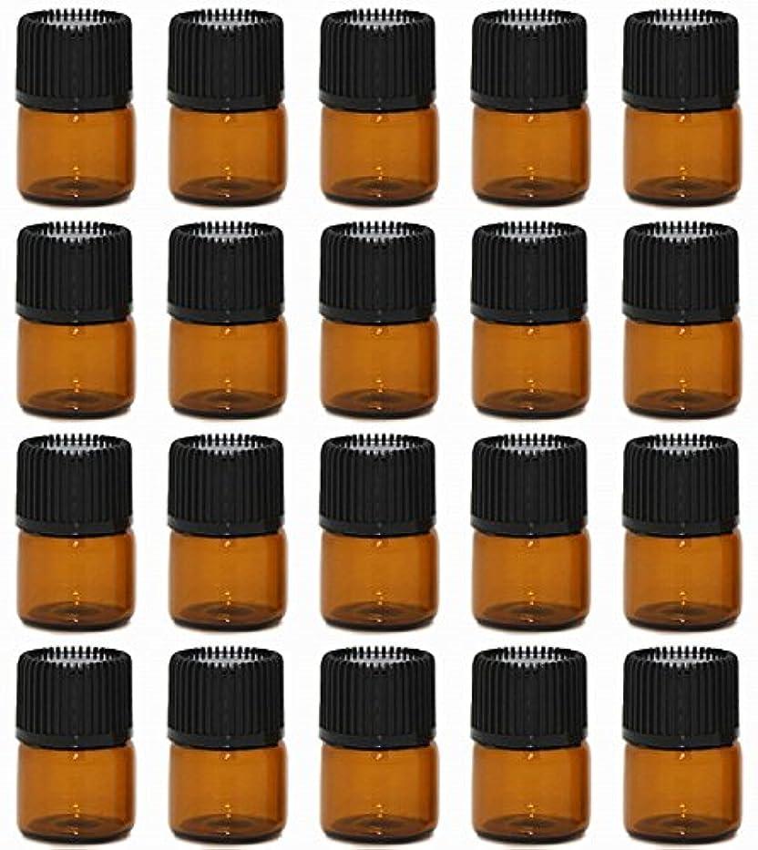 溝冷酷な違法【Rurumi】アロマオイル 精油 小分け用 遮光瓶 セット 茶 ガラス アロマ ボトル オイル 用 茶色 瓶 ビン エッセンシャルオイル 保存 詰替え (1ml 20本 セット)