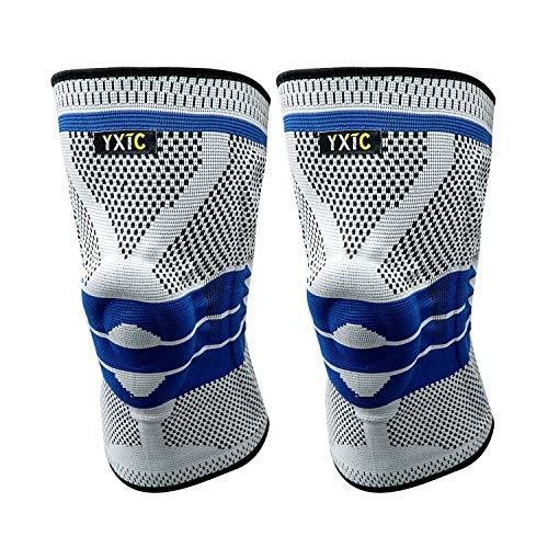 YXTC 膝サポーター スポーツ ひざ サポーター 医療用 保温 ランニング 登山 テニス 薄型 2個セット(XL, ブルー)
