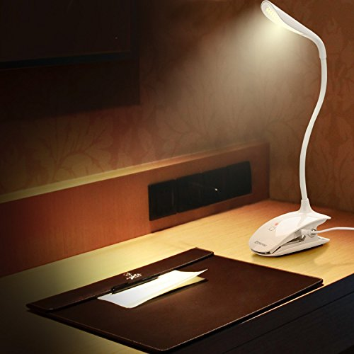 Mospro LEDデスクスタンド クリップライト タッチパネル機能 三段階調光 USB充電対応 電気スタンド 仕事・読書ランプ (ホワイト)