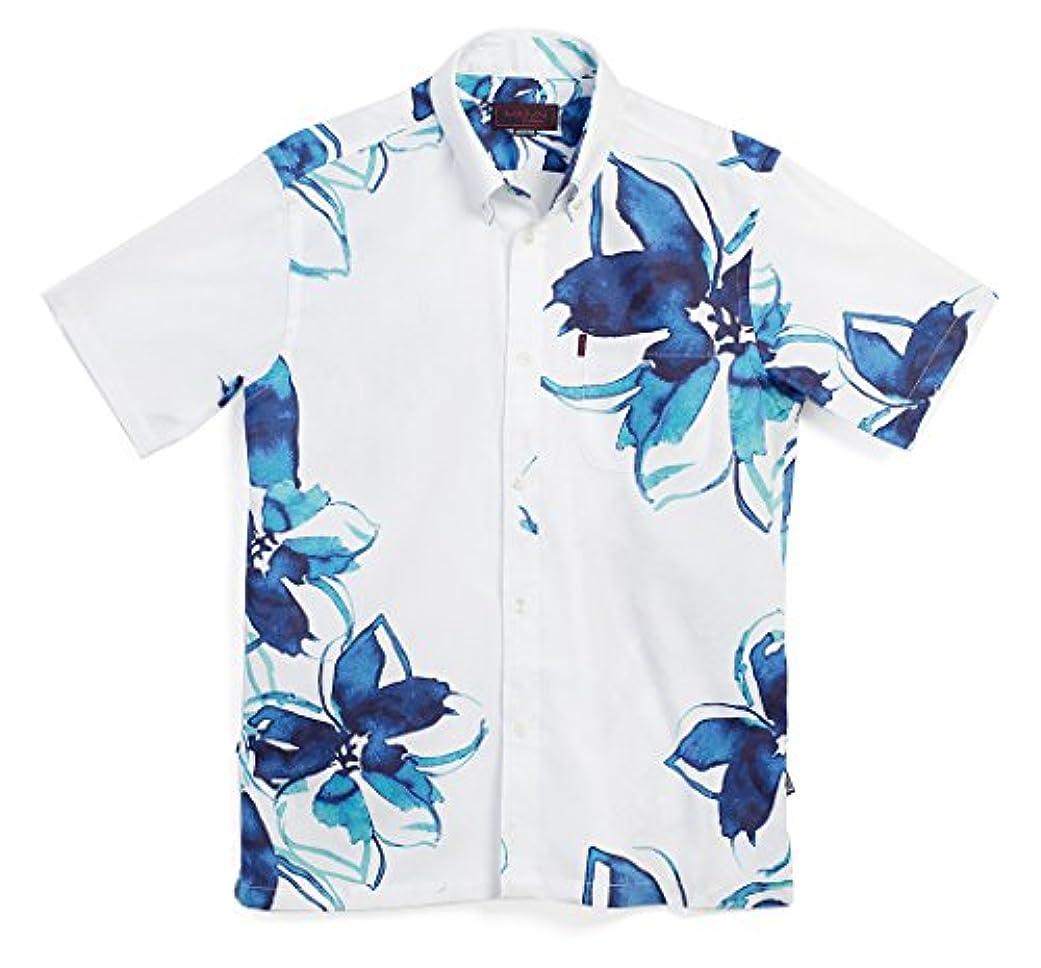 グロー今状況MAJUN (マジュン) かりゆしウェア アロハシャツ かりゆし 結婚式 メンズ 半袖シャツ ボタンダウン レイニークラウン ホワイト×ネイビー XL