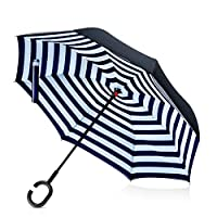 DORRISO 傘 逆転傘 逆さ傘 逆折り式傘 長傘 手離れC型手元 耐風傘 撥水加工 晴雨兼用 ビジネス用 車用 UVカット遮光遮熱 傘ケース付き(31マルチカラー)