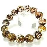 高透明度希少4A+級天然石 雲母(マイカ)入り ゴールドブラウンルチル ガーデンクォーツ14~14.8mm珠パワーストーンブレスレット
