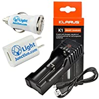 Klarus k1シングルセルスマートバッテリ充電器for Li - Ion 186501634022650/ Ni - MH/Ni - CD AA AAA AAAA C W / 1A LightJunction USBプラグ
