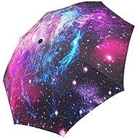 InterestPrint Space Nebula Galaxy Universe Windproof Compact One Hand Auto Open and Close Folding Umbrella, Stars Starry Night Rain & Outdoor Unbreakable Travel Umbrella