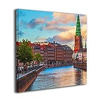 Hao Jinsun Summer Sunset Of Copenhagen Denmark Old City Europe キャンバス アートボード アートフレーム インテリア絵画 おしゃれ モダン フレーム 部屋飾り 絵画 壁掛け アートストリート バンクシー ポスター