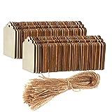 Unfinished木製タグ???100枚パック木製ギフトタグwithジュートロープ、ナチュラル素朴な木製クラフトラベルホームDIY Supplies、結婚式の装飾、2.7?X 1.5?CM