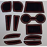 KINMEI(キンメイ) マツダ デミオ DEMIO DJ系 赤 専用設計 インテリア ドアポケット マット ドリンクホルダー 滑り止め ノンスリップ 収納スペース保護k-61