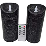 Adoria Black Led Candles Gift Set of 2 with Dancing Flame -Real Wax Battery Candles with Rustic Texture Look-24 Hour Cycle Ti