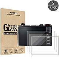 【3 枚セット】 キヤノン(Canon)G7X Mark II G9X G9XII G7X G5X 保護フィルム, 【AKWOX】 Canon G7X Mark II G9X G9XII G7X G5X 強化ガラスフィルム/スクリーン保護フィルム/スチールフィルム/9H高硬度/0.3MM厚さ/ 耐衝撃
