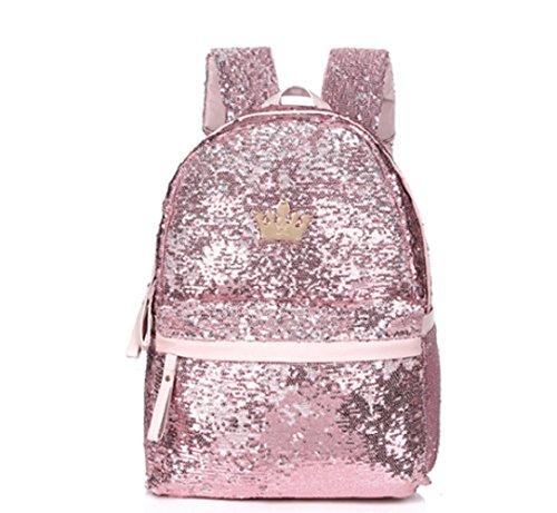 レディース クラウン リュックサック (ブラック、パープル、シルバー、ゴールド) スパンコール きらきら 鞄 バッグ 金 銀 メタリック スタッズ PU素材 ファッション小物 (ピンク)