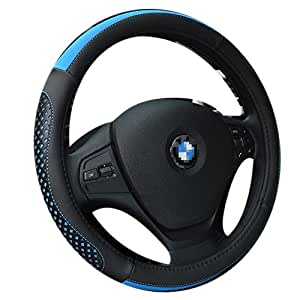 GOOACC ハンドルカバー 使いやすい 握りやすい 車 軽自動車 用品 おしゃれ グリップ 蒸れない 通気性素材使用 Mサイズ(37-38CM) (Cタイプ, ブラック+ブルー)