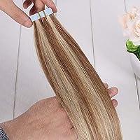 FidgetGear AAAAAブロンドのよこ糸はRemyの人間の毛髪延長16インチ26インチフルヘッドにテープ #12/613