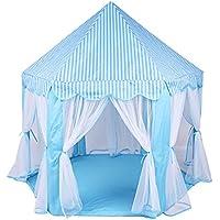 [Jiyaru] 6角プリンセステント キッズハウス おもちゃテント かわいい 子供用ボールテント 遊具テント 出産祝い Blue
