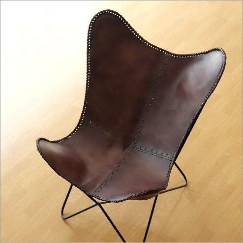 レザーチェア 本革 アイアン アンティーク レトロ 革製 椅子 イス レザーチェアー おしゃれ モダン リビングチェア 革張り 背もたれ レザーバタフライチェアー [ras2755]