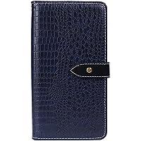 OPPO A83 財布 シェル, OPPO A83 シェル, MeetJP プレミアム レザー ジッパー 財布職能 al 耐久保護ケース リムーバブル カード スロット ポケット ポーチ フリップ 保護 カバー の OPPO A83 - Dark Blue