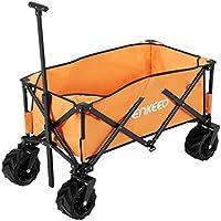 enkeeo キャリーワゴン 組立て済み 容量122L 耐荷重100kg より太いタイヤ 使用簡単 折り畳みと自立可能 収納バッグ付 荷物運び ゴミ捨て用 運動会 キャンプ BBQなどに 5002【メーカー保証】