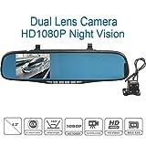 1080P フルハイビジョン 高画質 ミラー型 ドライブレコーダー バックカメラ 暗視機能 140度広角 常時録画 駐車監視 車載防犯カメラ 駐車ナビ搭載 前後カメラ 日本語対応