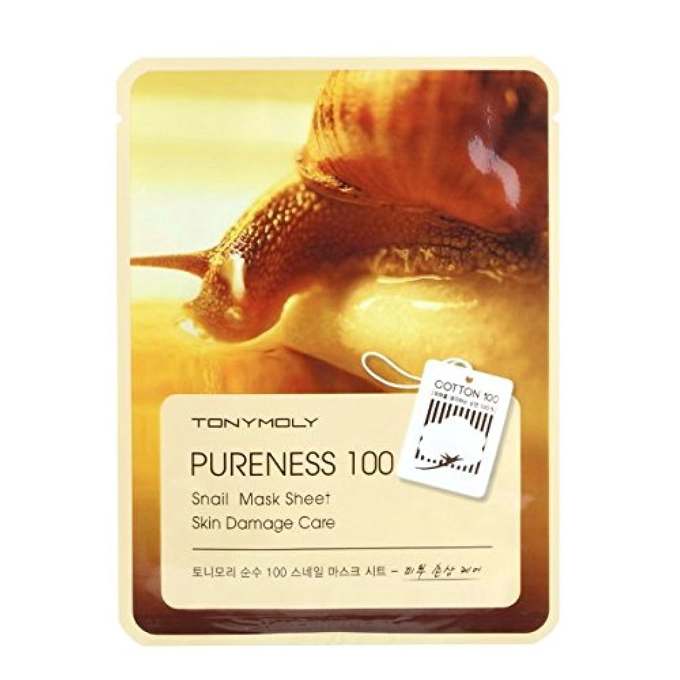 くそー縫う離す(3 Pack) TONYMOLY Pureness 100 Snail Mask Sheet Skin Damage Care (並行輸入品)
