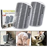 Kingtree 2 PCS Cat Self Groomer, Cats Corner Groomer Wall Corner Massage Comb Grooming Brush Perfect Massager Tool for Long & Short Fur Kitten Puppy - Grey