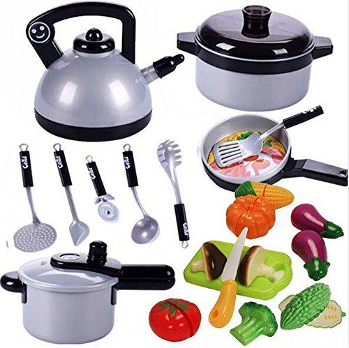子供の遊び家のおもちゃ、台所の料理の料理のシミュレーションシミュレーション料理の学習学習セット、厚い...
