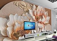 Minyose カスタム壁紙3Dの花のレリーフの背景の壁蓮の花の背景の壁の壁の壁画の壁紙-350cmx245cm