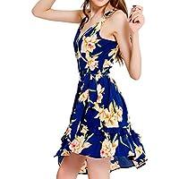 PRETYZOOM Dress V Collar Printed Sleeveless Fashion Irregularity Women Dress Bohemian Dress Clothes Summer Costume Sexy Skirt