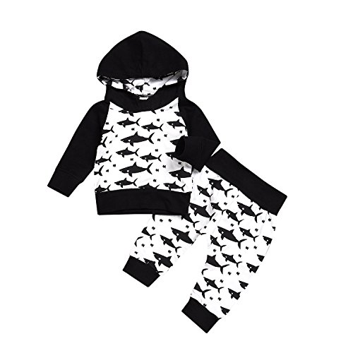 Nokpsedcb Newborn Kids Clothing Baby Boys Cute Shark Hooded Sweater Pullover Top+Long Pants Trousers Outfits Set (Black White, 6-12 Months)