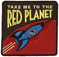 "Take Me To The Planets Red Planet - Sew Iron on, Embroidered Original Artwork - Patch - 3.5"" X 3.5"""