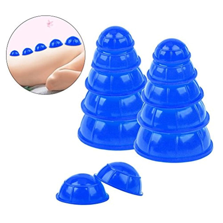リズム結果として警報ROSENICE カッピングカップシリコンメディカルバキュームカッピングマッサージツールボディフェイシャルセラピーセット12pcs(ブルー)