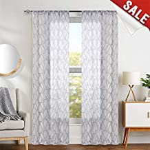 "jinchan Grey Window Sheer Curtains for Bedroom Embroidered Geometry Lattice Window Treatment Set for Living Room 63"" L 2 Panels"