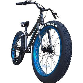 TRINX(トリンクス) ビーチクルーザー 【ファットバイク】迫力の極太タイヤ Wディスクブレーキ 軽量アルミフレーム Shimano7段変速 26インチ26x4.1 スノーバイク FATBIKE T106グレー/ブルー T106 グレー/ブルー
