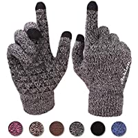 Achiou Winter Warm Touchscreen Gloves for Women Men Knit Wool Lined Texting (Black White for Women)