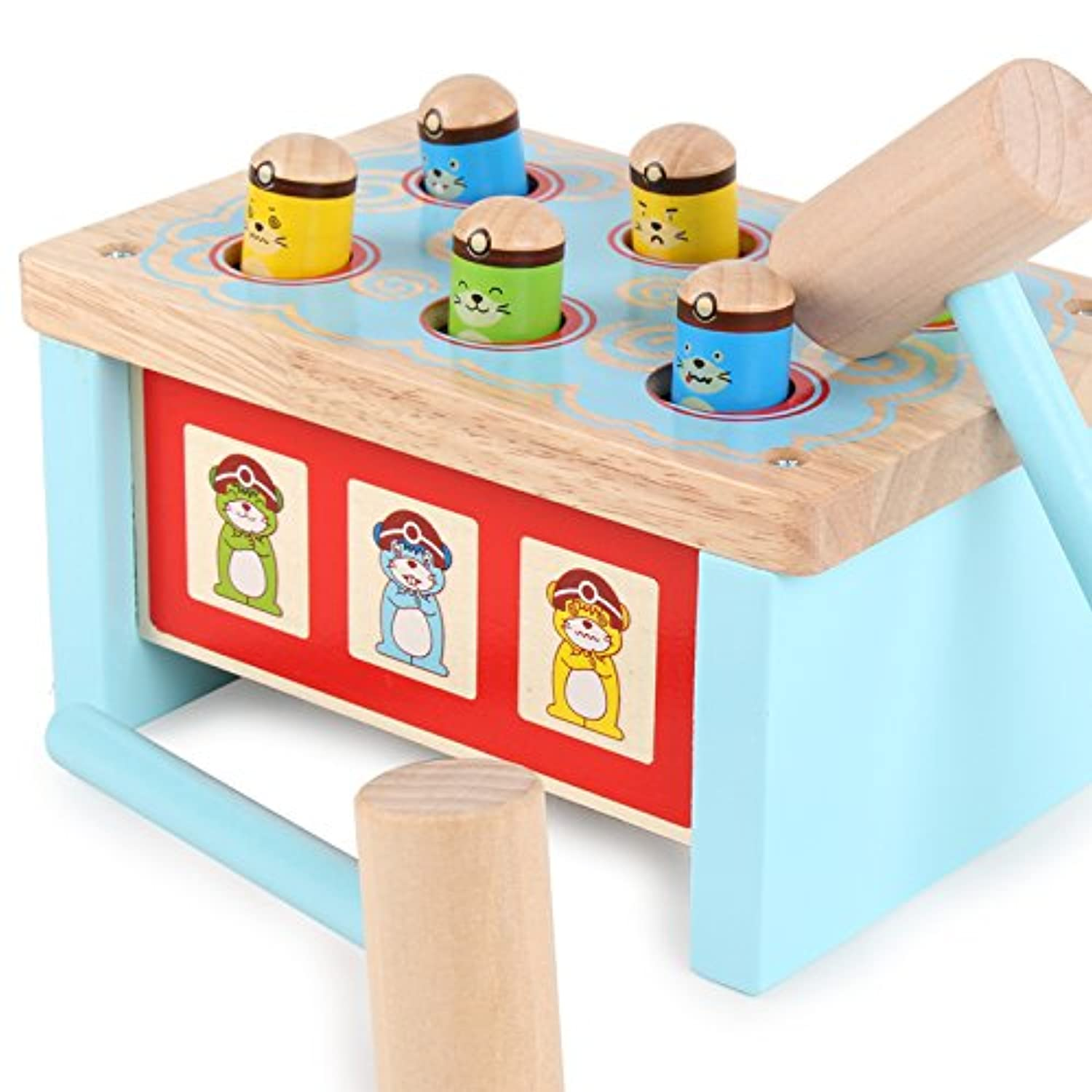 (Blue) - Early Educational Wooden Toys Whack-a-mole Noise Marker Tap on a Toy Cheering Stick Children Play Hamster