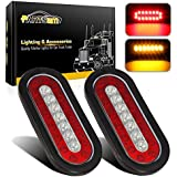 """Partsam 2 Pcs 6"""" inch Oval Truck Trailer Led Tail Stop Brake Lights Taillights Running Red and Amber Parking Turn Signal Lights, Sealed 6 inch Oval led Trailer Tail Lights w reflectors Flush Mount"""
